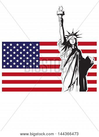Statue of liberty usa symbol nation country stars blue flag