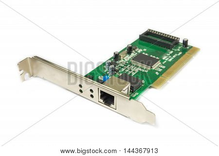 Network LAN card for computer isolated on white background. clipping path for use