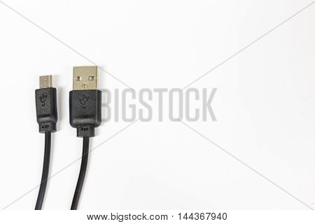 Close Up of USB cable isolated on white background is transfer data or connect device Copy space. clipping paths