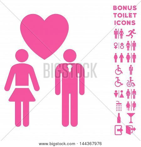 Love Persons icon and bonus male and lady lavatory symbols. Vector illustration style is flat iconic symbols, pink color, white background.
