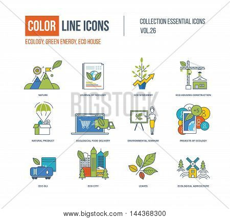 Color Line icons collection. Ecology, nature, journal of ecology, eco movement, eco housing construction, natural product, food delivery, seminar, eco oli, city leavesecological agriculture