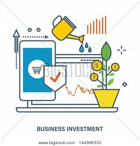 Concept of business investment - growth and protection of investments, increase profits. Color Line icons. Flat Vector illustration