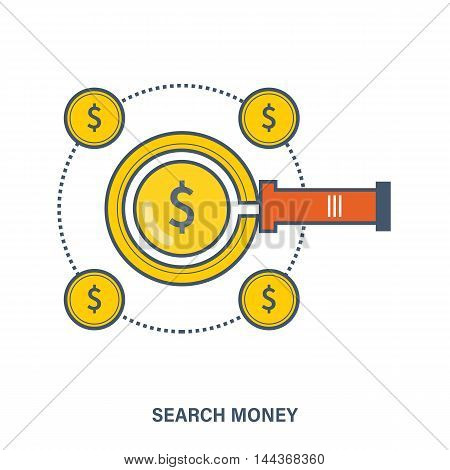 Concept for search money. Color Line icons. Flat Vector illustration