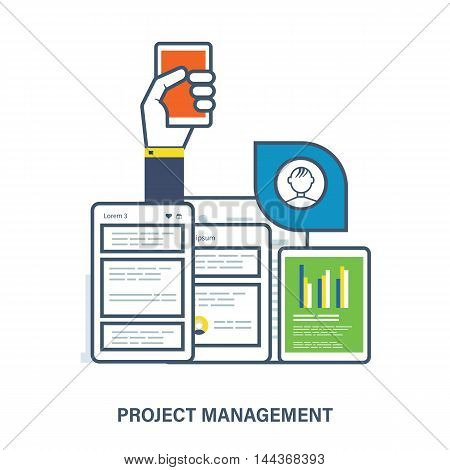 Concept of project management - schedule with the tasks and planning for each day. Color Line icons. Flat Vector illustration