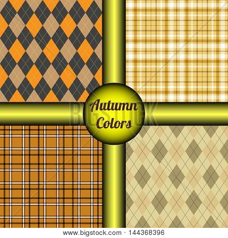 Set of four seamless patterns in autumn color palette. Classic vector prints of tartan plaid and argyle textile design in tones of orange, yellow, gray, white, brown & black.