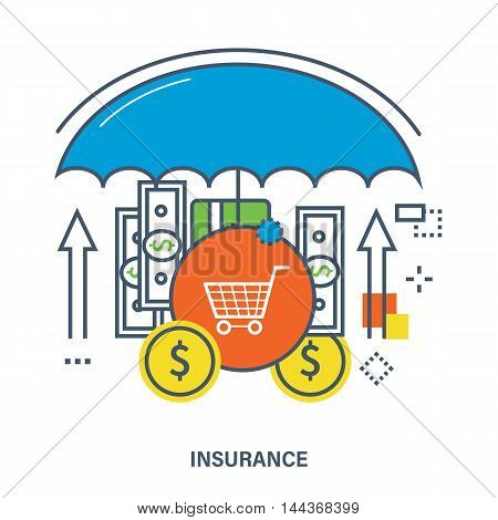 Concept of insurance. Deposit insurance, money payments. Protection payments. Color Line icons. Flat Vector illustration