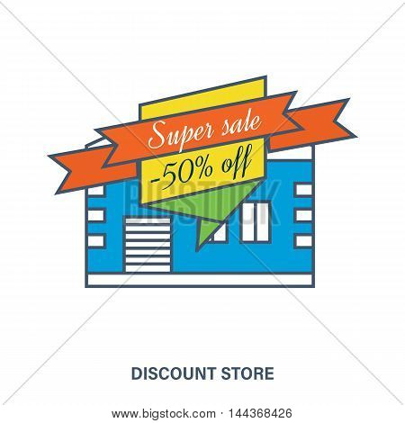 Concept of discount store. Mega discount. Special offer. Color Line icons. Flat Vector illustration
