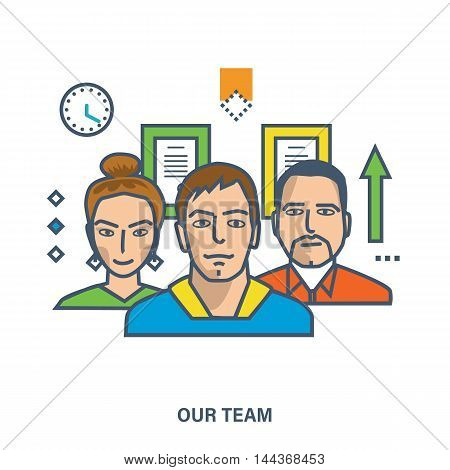 Concept of our team, business people teamwork, team skills, management. Color Line icons. Flat Vector illustration