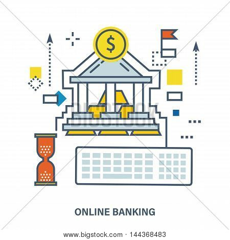 Concept of online banking and payment methods - Bank building with coins and gold bullion. Color Line icons. Flat Vector illustration
