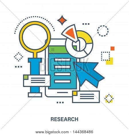 Concept of market research - mobile phone interface with charts and a magnifying glass. Color Line icons. Flat Vector illustration