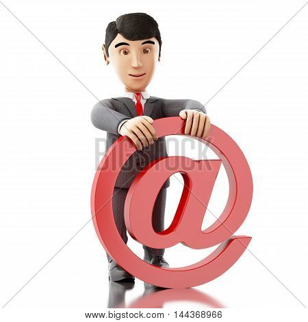 3d Illustration. Businessman with an email symbol. Business concept. Isolated white background.