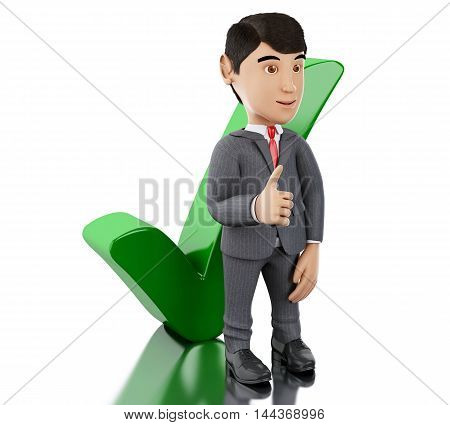 3d Illustration. Businessman showing thumb up with check mark. Business concept. Isolated white background.
