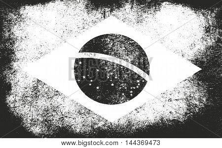 Grunge Brazil flag. Brazilian flag with distressed texture.