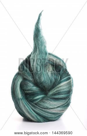 Hank merino wool gray-green color on a white background