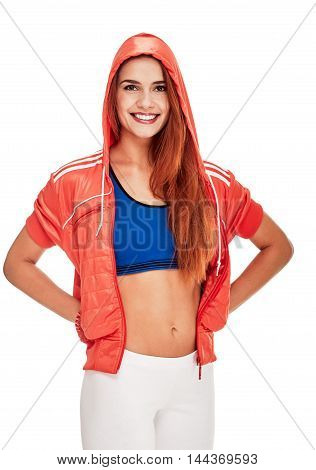 fitness woman. Young sporty Caucasian female model isolated on white background