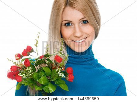 beautiful smiling woman with bouquet of flowers isolated on white background