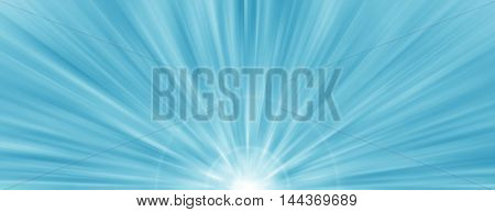 Blue radial radiant banner background glowing starburst