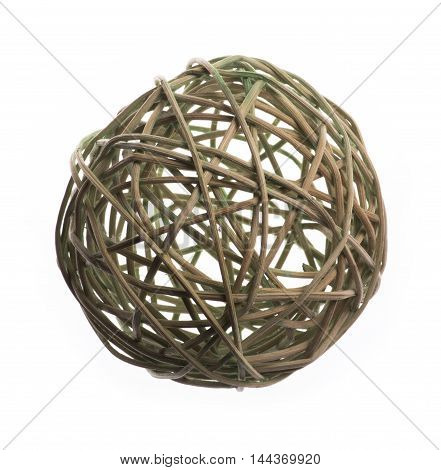 Wicker ball of willow branches on a white background