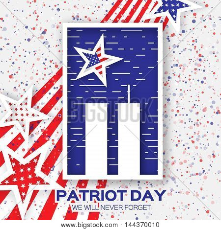 Origami Patriot Day. Twin Tower with rectangle frame on grey background. Abstract american flag. Stars and stripes. We will never forget. September 11 2001. Vector illustration. Poster Template.