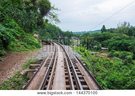 The Death Railway bridge at Krasae Cave in Kanchanaburi Thailand.