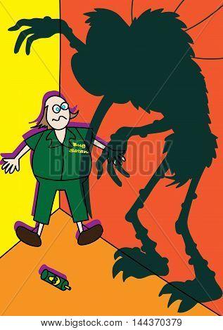 monster giant mosquito spreading zika virus vector illustration