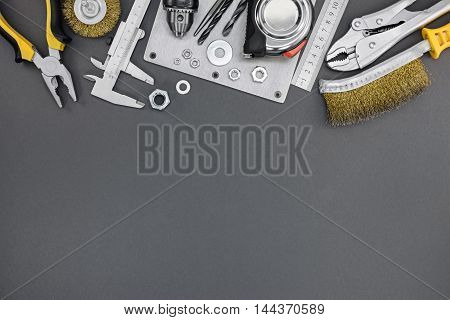 Different Tools, Instruments And Accessories On Grey Background