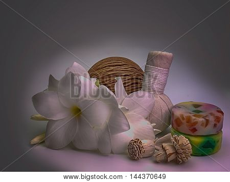 Beautiful composition of spa treatment On a white background . (Vintage)