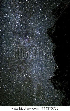 Starry night sky with a milky way