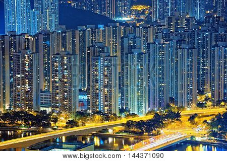 Hong Kong Public living downtown at night