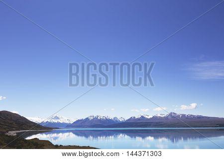 Deep blue sky surrounding Lake Pukaki area.