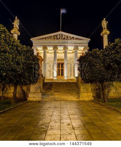 The Academy of Athens at night, Greece