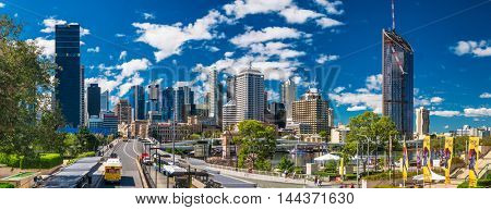 BRISBANE, AUS - AUG 26 2016: Panoramic view of Brisbane Skyline as seen from South Bank.