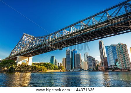 BRISBANE, AUS - AUG 10 2016: Brisbane Skyline with Story Bridge and the river. It is Australias third largest city, capital of Queensland.