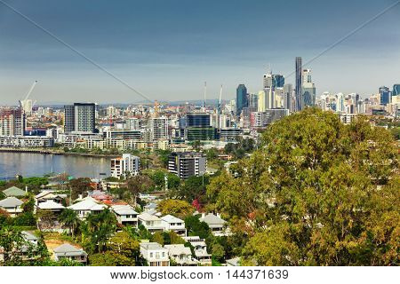 BRISBANE, AUS - AUG 10 2016: Brisbane Skyline as seen from north side. It is Australias third largest city, capital of Queensland.