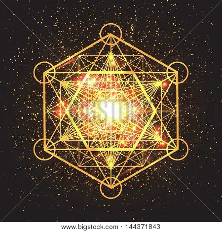 Magic geometry sign. Abstract sacred geometry. Religion spirituality occultism. Alchemy mystical symbol on space background. Vector design illustration.