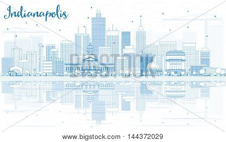 Outline Indianapolis Skyline with Blue Buildings and Reflections. Business Travel and Tourism Concept with Modern Buildings. Image for Presentation Banner Placard and Web Site.