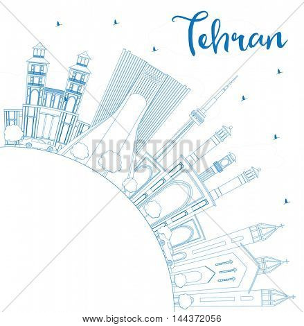 Outline Tehran Skyline with Blue Landmarks and Copy Space. Business Travel and Tourism Concept with Historic Buildings. Image for Presentation Banner Placard and Web Site.