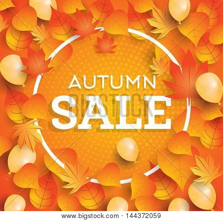 Autumn sale background with falling leaves and balloons.