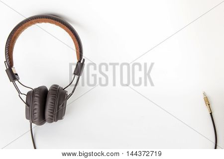 isolate a brown headphone on white background