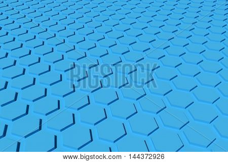 blue hexagon shape 3d rendering background and wallpaper
