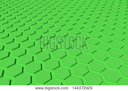 green hexagon shape 3d rendering background and wallpaper