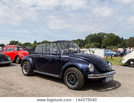 Celle, Germany - August 7, 2016: A black Volkswagen Kaefer cabriolet at the annual Kaefer Meeting