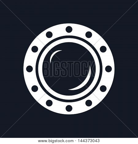 Porthole ,Shipboard Window, Round Ship Porthole Isolated on Black Background, Vector Illustration