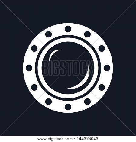 Porthole ,Shipboard Window, Round Ship Porthole Isolated on Black Background, Vector Illustration