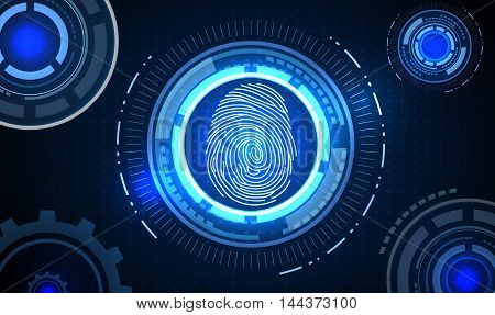 Fingerprint with concept blue abstract technology background