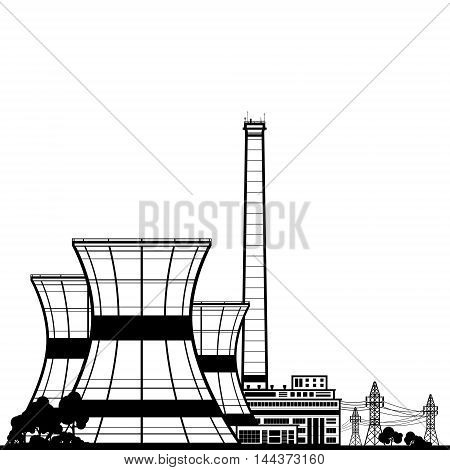 Silhouette Nuclear Power Plant ,Thermal Power Station ,Nuclear Reactor and Power Lines,Black and White Vector Illustration