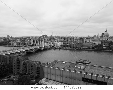 Aerial view of the city of London UK in black and white