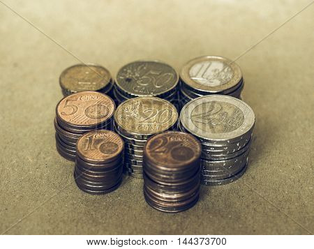 Vintage Euro Coins Pile