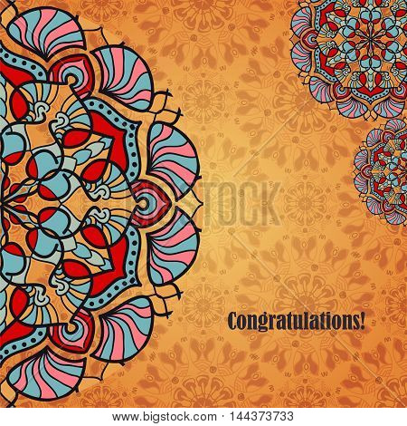 Vector greeting card with indian or arabic folk ornaments. Congratulation's background with text and mandalas patterns. Ethnic oriental motifs