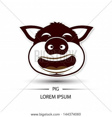 Pig Face Laugh Logo And White Background Vector